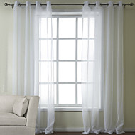 Two Panels Curtain Modern , Solid Bedroom Poly / Cotton Blend Material Sheer Curtains Shades Home Decoration For Window