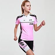 ieftine MYSENLAN®-Mysenlan Pentru femei Manșon scurt Jerseu Cycling cu Pantaloni Scurți - Roz Bicicletă Set de Îmbrăcăminte, Uscare rapidă, Rezistent la Ultraviolete, Respirabil Poliester / Tehnici Avansate de Țesut