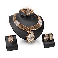 Mulheres Gema Strass / Liga Conjunto de jóias Anéis / 1 Colar / 1 Par de Brincos - Personalizada / Vintage / Fashion Irregular Dourado