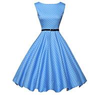Dame Vintage Bukser - Prikker Blå, Trykt mønster Blå