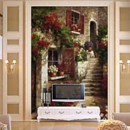 retro 3d fényes bőr hatás nagy freskót tapéta épület és olajfestmény art fali dekoráció