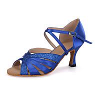 baratos Sapatilhas de Dança-Mulheres Sapatos de Dança Latina Tecido elástico Sandália / Salto / Têni Gliter com Brilho / Presilha / Vazados Salto Carretel Personalizável Sapatos de Dança Azul Marinho / Preto / Vermelho / Couro
