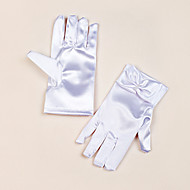 cheap Wedding Gloves-Satin Wrist Length Glove Flower Girl Gloves With Bowknot