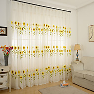 cheap Curtains & Drapes-Rod Pocket Grommet Top Tab Top Double Pleat Pencil Pleat Two Panels Curtain Country, Embroidery Dining Room Poly / Cotton Blend Material