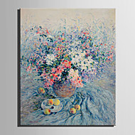 cheap Oil Paintings-Hand-Painted Floral/Botanical Vertical, European Style Canvas Oil Painting Home Decoration One Panel