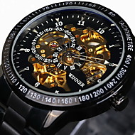 cheap Clearance-WINNER Men's Wrist Watch Mechanical Watch Automatic self-winding Stainless Steel Black / Silver 30 m Water Resistant / Waterproof Hollow Engraving Luminous Analog Luxury Vintage - Black Gold / Black