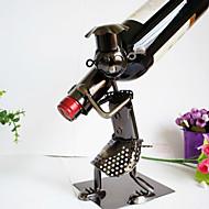 ברזל מתכת בר בירה אוסף עיצוב יצירתי האיש בקבוק יין בעל הבית במטבח בסלון מחזיקי מדף יין עתיק