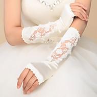 お買い得  ウェディンググローブ-サテン 肘丈 ブライダル手袋 パーティー/イブニング手袋 アップリケ  -  グローブ