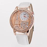 Mulheres Simulado Diamante Relógio Relógio Elegante Relógio de Moda Quartzo imitação de diamante PU Banda Torre Eiffel Branco Azul