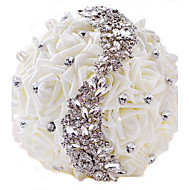 PE Artificial Rose S Diamond White Bridal Wedding Bouquet