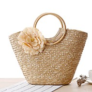 cheap Bags-Women's Bags Straw Tote for Casual All Seasons Beige Yellow Fuchsia Green