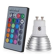 1pc 3W 250lm E14 GU10 GU5.3 E26 / E27 LED-spotlys 1 LED Perler Højeffekts-LED Dæmpbar Dekorativ Fjernstyret RGB 85-265V
