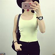 Feminino Padrão Colete,Casual Moda de Rua Sólido Azul Branco Preto Cinza Amarelo Com Alças Sem Manga Poliéster Verão Média Com Stretch