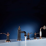 cheap Bathroom Sink Faucets-Bathroom Sink Faucet - Pullout Spray Rose Gold Widespread Three Handles Five Holes
