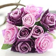 baratos -Bouquets de Noiva Redondo Rosas Buquês Casamento Azul / Rosa / Verde / Branco / Roxo / Champagne / Multi-Côr Cetim / Seda