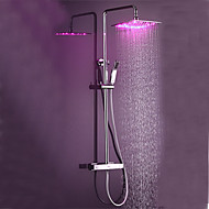 Contemporary Shower System Thermostatic LED Ceramic Valve Chrome , Shower Faucet