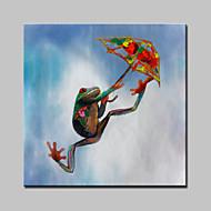 lager håndmalte moderne abstrakte fallskjerm frosker dyr oljemaleri på lerret veggen kunst bilde whit ramme