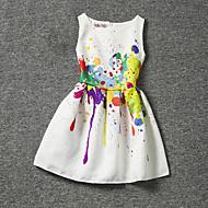 아동 여아 꽃 프린트 민소매 폴리에스테르 드레스 화이트