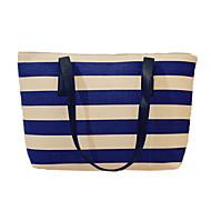 baratos Bolsas de Ombro-Mulheres Bolsas Tela de pintura Bolsa de Ombro / Adesivo Riscas Preto / Azul