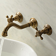 cheap Bathroom Sink Faucets-Traditional Wall Mounted Widespread Ceramic Valve Three Holes Two Handles Three Holes Antique Brass, Bathroom Sink Faucet