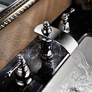 お買い得  浴室洗面ボウル用蛇口-バスルームのシンクの蛇口 - 滝状吐水タイプ クロム 組み合わせ式 二つのハンドル三穴