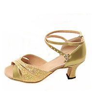 baratos Sapatilhas de Dança-Mulheres Sapatos de Dança Latina / Dança de Salão Glitter Sandália Presilha Salto Robusto Não Personalizável Sapatos de Dança Prateado /
