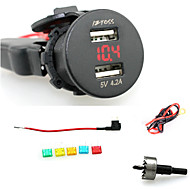 billiga Billaddare för mobilen-iztoss 2.1a& 2.1a vattentät dubbla USB-laddare mobiltelefon laddare eluttaget med voltmeter rött ljus