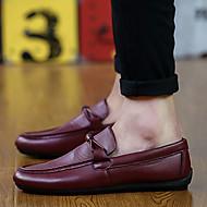 tanie Obuwie męskie-Męskie Skórzane buty Sztuczna skóra Wiosna / Jesień Mokasyny i buty wsuwane Spacery Niepoślizgowy / a Czarny / brązowy / Burgundia / Wygodne loafery