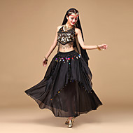 cheap Dancewear & Dance Shoes-Belly Dance Outfits Women's Performance Chiffon Sequin Sleeveless Top Skirt Headwear