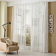 billige Gjennomsiktige gardiner-To paneler Moderne Stripe Hvit Stue Poly/ Bomull Blanding Sheer Gardiner Shades