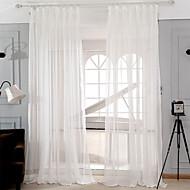 baratos Cortinas Transparentes-Dois Painéis Moderno Sólido Branco Sala de Estar Poli/Mistura de Algodão Sheer Curtains Shades