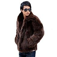 Krzneni kaput Muške,Clasic Ležerno/za svaki dan Jedna barva-Dugi rukav V izrez-Zima Normalne dužine /