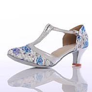 billige Moderne sko-Dame Sko til latindans Tekstil Høye hæler Gummi / Spenne Kustomisert hæl Kan spesialtilpasses Dansesko Rød / Blå / Innendørs