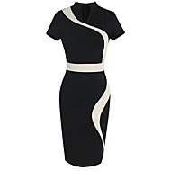 Per donna Ufficio Moda città Cotone Attillato Vestito - Collage, Monocolore A V Al ginocchio In bianco e nero / Taglia piccola