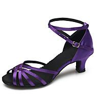 baratos Sapatilhas de Dança-Mulheres Sapatos de Dança Latina / Sapatos de Dança Moderna Cetim Salto Presilha Salto Agulha Personalizável Sapatos de Dança Roxo / Interior / Ensaio / Prática
