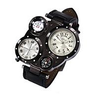 男性 軍用腕時計 ドレスウォッチ 耐水 / クォーツ レザー バンド カジュアルスーツ ブラック ブルー ブラウン