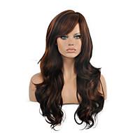 Sentetik Peruklar Dalgalı Stil Bantlı Bonesiz Peruk Kahverengi Kahverengi Sentetik Saç Kadın's Ombre Saç / Işıltılı / Balyajlı Saç / Yan Parti Kahverengi Peruk Uzun Cadılar Bayramı Peruk