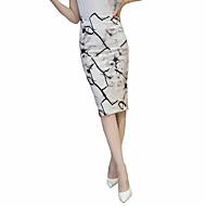 Dame Plusstørrelser Bodycon Nederdele Delt Trykt mønster