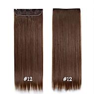 24inch 60cm # 12 pitkät suorat hiukset leikkeen hiusten pidennykset synteettisestä hiuslisäkkeet kauniita naisia