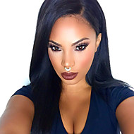 TOP Natural Black Silk Straight Synthetic Lace Front Wigs 100% Heat Resisitant Synthetic Hair For Women  In Stock