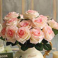 1 1 Ramo Poliéster / Plástico Rosas Flor de Mesa Flores artificiais 17.7inch/45cm
