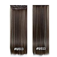 아름다운 여성을위한 헤어 확장 #에서 24inch의 60cm 긴 스트레이트 헤어 클립 613분의 8 합성 hairpieces을