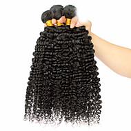Cabelo Humano Cabelo Mongol Cabelo Humano Ondulado Kinky Curly Afro Cacheado Extensões de cabelo 3 Peças Preto