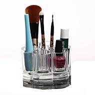 voordelige -Make-up opbergsysteem Make-updoos / Make-up opbergsysteem Kunststof / Acryl Effen Rond 9.2x9.2x5.9 Oranjegeel