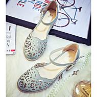 baratos Sapatos Femininos-Feminino Rasos Couro Ecológico Verão Casual Presilha Rasteiro Bege Azul Escuro Cinzento Rasteiro