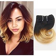 Gerçek Saç Hintli Saçı Ombre Dalgalı Saç uzatma 4 Parça # T1B -27