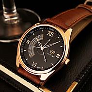 YAZOLE Men's Dress Watch Quartz Casual Watch Leather Band Black Brown