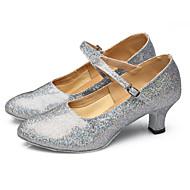 billige Moderne sko-Kan ikke spesialtilpasses-Dame-Dansesko-Latinamerikansk Dansesko-Glimtende Glitter Paljetter Syntetisk-Kubansk hæl-Svart Rød Sølv Gull