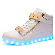 Dame Treningssko Lysende sko Komfort Lette såler Syntetisk Mikrofiber PU Høst Vinter Atletisk Avslappet Fest/aften Snøring Flat hælHvit