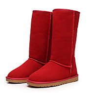 Women's Shoes Leather / Winter Snow Boots / Fashion Boots Outdoor / Flat Heel Fur Black / Brown / Yellow / Red / Gray